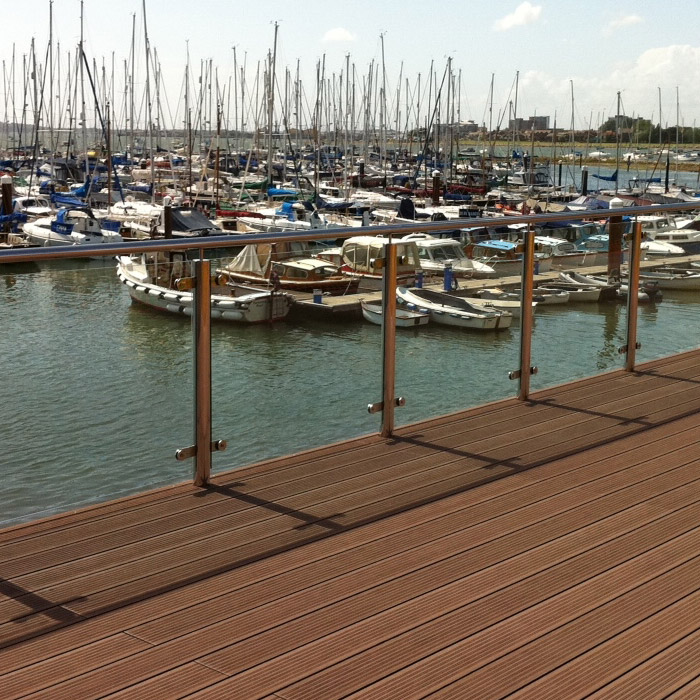 Stainless steel balustrade with glass infills to a new terrace at Parkstone Yacht Club, Poole, Dorset