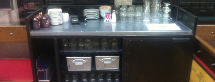 blackened steel with stainless steel worktop for new waiter station in London.