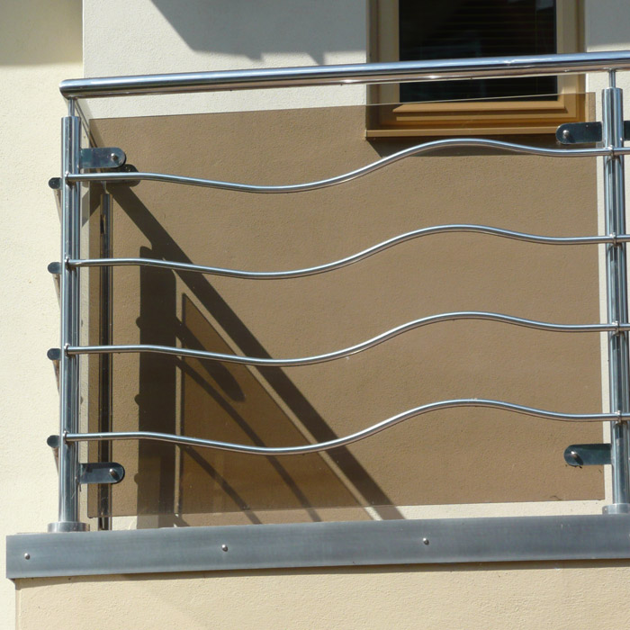 stainless steel with glass balustrading to a contemporary house in Dorset.