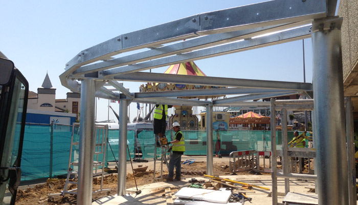 Galvanised structure for a new sea front cafe in Bournemouth