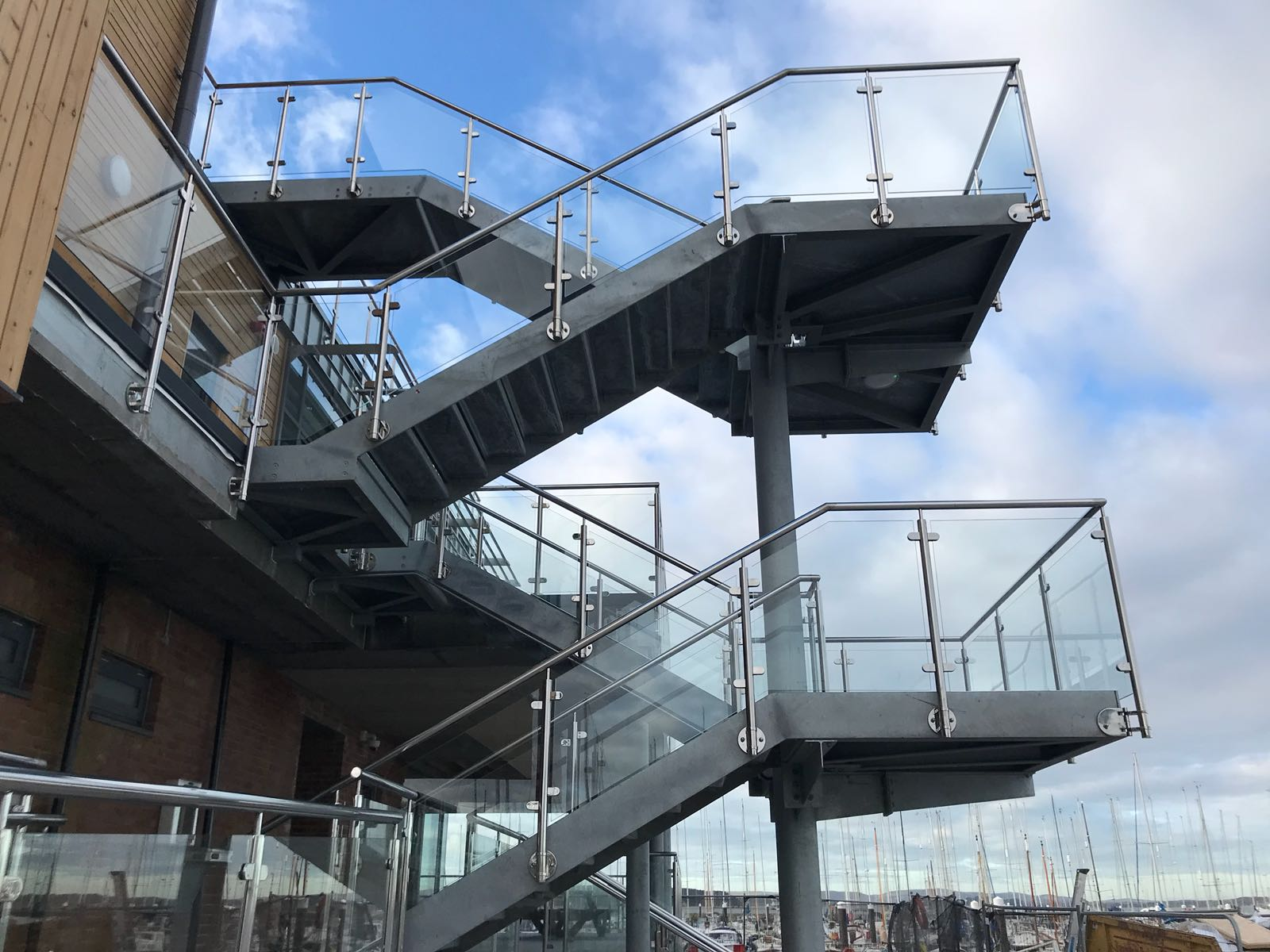 Exterior Multiple level Bespoke staircase with stainless barricade for a venue in Parkstone.